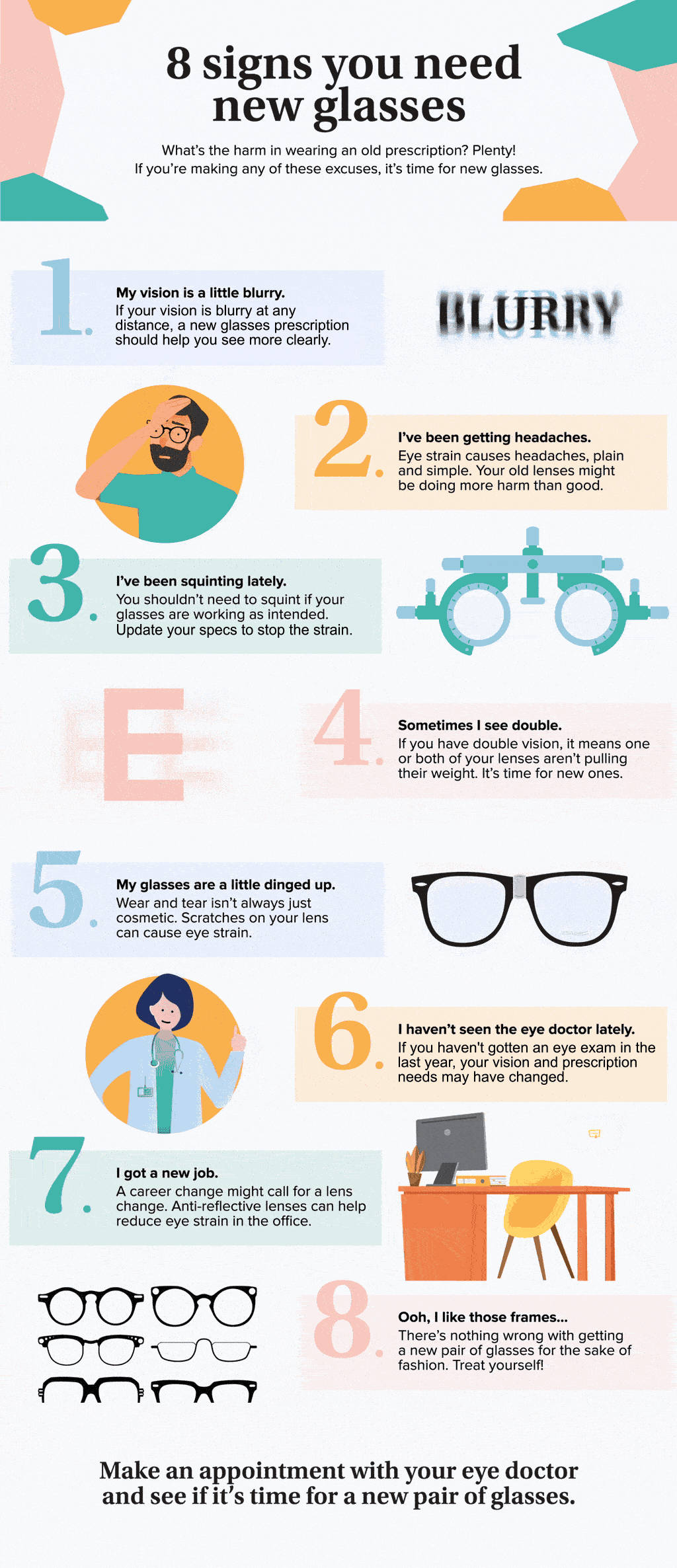 Infographic 8 Signs you need new glasses